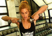 Cindy Crawford weight training