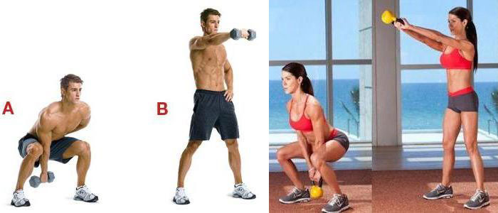 Dumbbell Swing and Kettlebell Swing