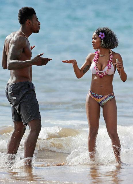 Iman Shumpert and Teyana Taylor at the beach in Hawaii