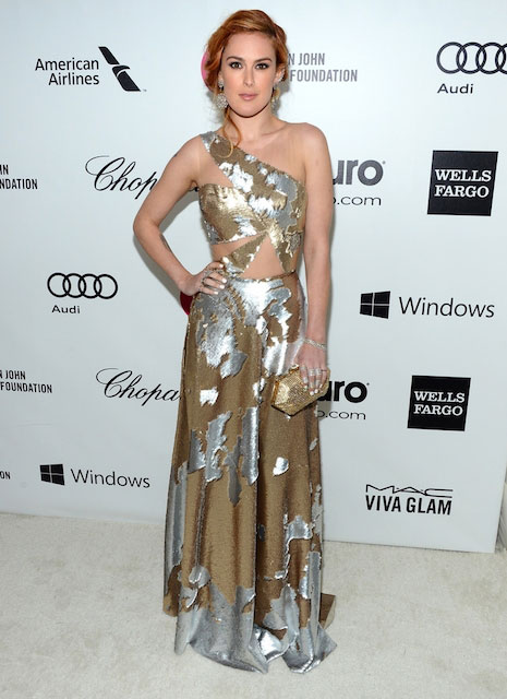 Rumer Willis wearing Felja 2014 Elton John Oscar Party