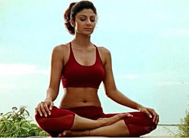 Shilpa Shetty doing Pranayama