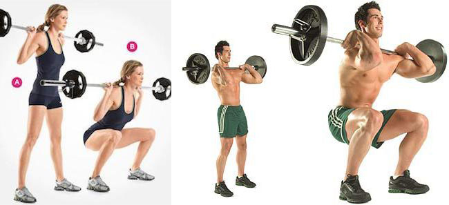 Weighted Barbell Squat Women and Men