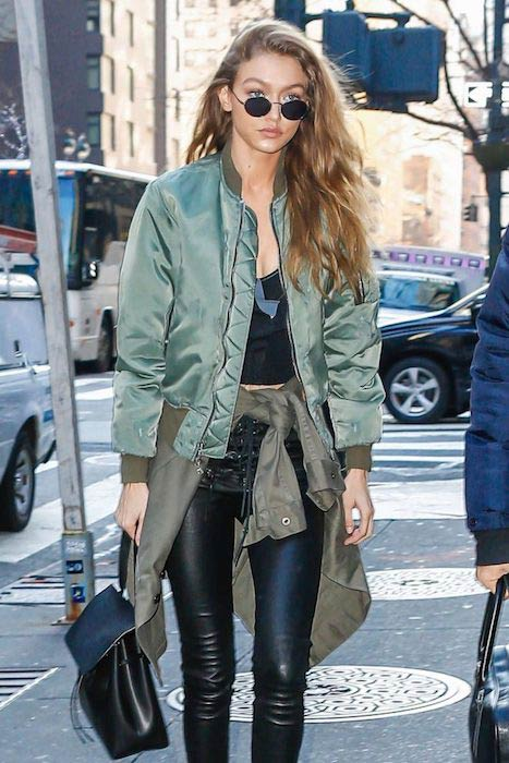 Gigi Hadid in leather trousers out in New York City in December 2016