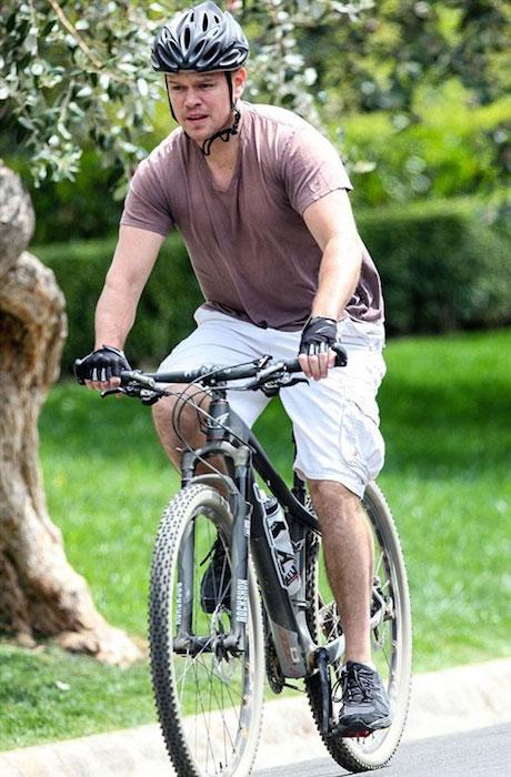 Matt Damon cycling