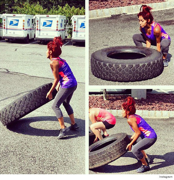 "Snooki ""Lifting Tyre"" Workout"