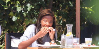 Angela Simmons eating her lunch.