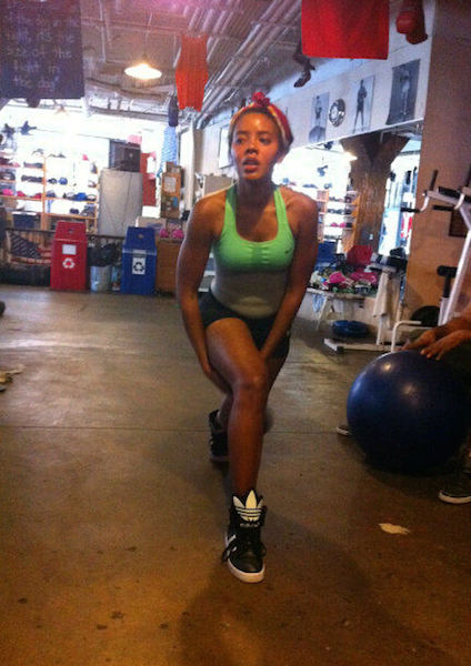Angela Simmons working out