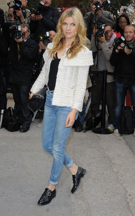 Clemence Poesy at Chanel S/S RTW 2014 Fashion Show at Grand Palais in Paris.