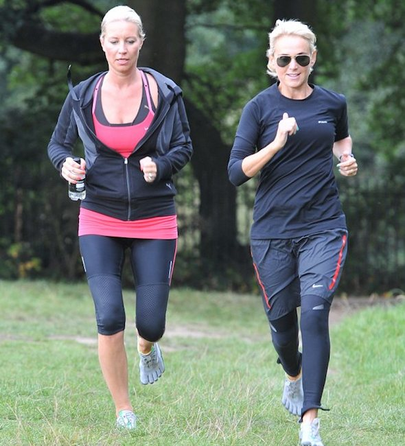 Denise van Outen running with her personal trainer, Nicole Waterman