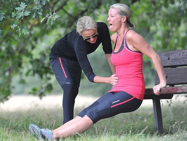 Denise van Outen working out with her personal trainer, Nicole Waterman