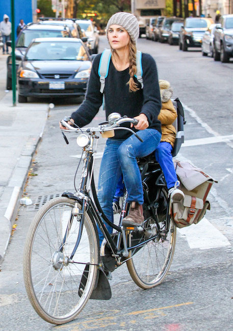 Keri Russell cycling