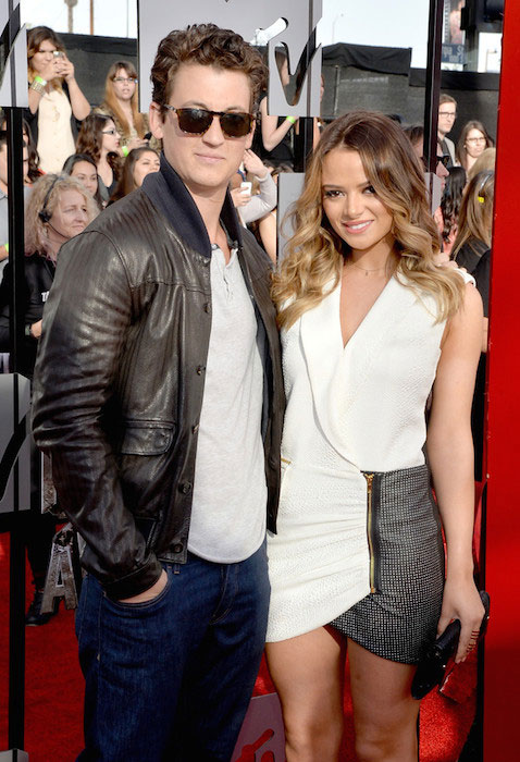 Miles Teller and Keleigh Sperry at 2014 MTV Movie Awards.