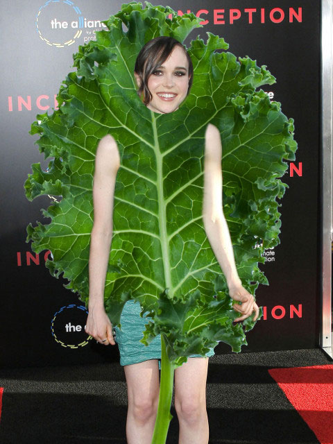 Ellen Page wearing huge kale leaf.