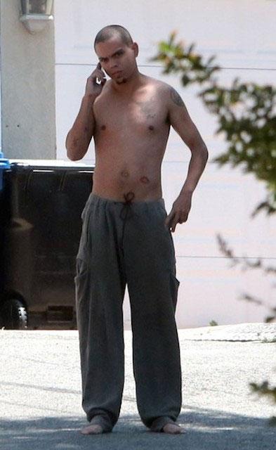 Evan Ross shirtless look