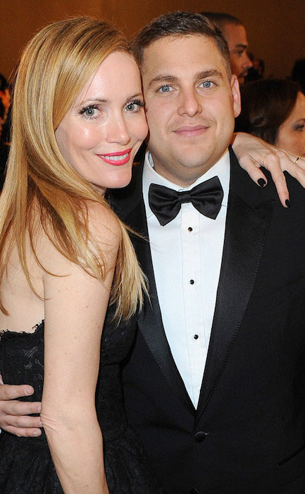 Leslie Mann with Jonah Hill at Golden Globes 2014.