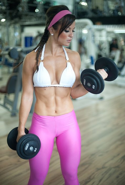Alice Matos building biceps