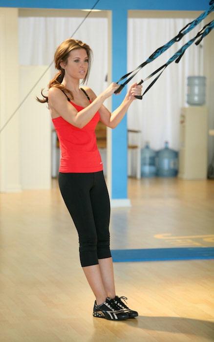 Audrina Patridge trying Reebok Jukari Fit To Fly Workout.