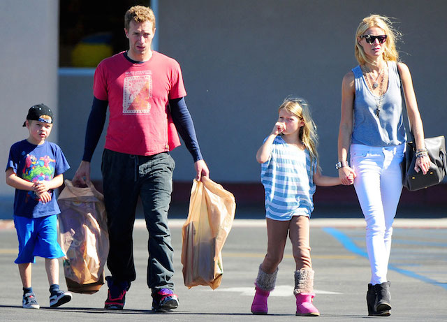 Chris Martin and Gwyneth Paltrow with kids Apple and Moses.