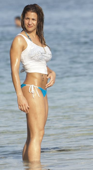 Gemma Atkinson in bikini at a beach in Bali in June 2014.