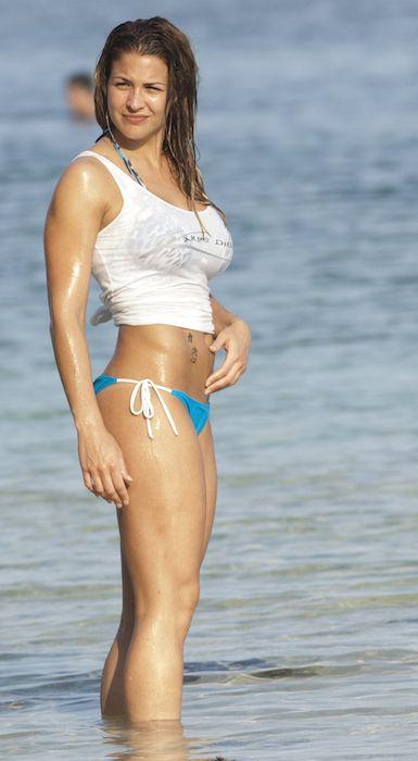 Gemma Atkinson in bikini at a beach in Bali in June 2014.