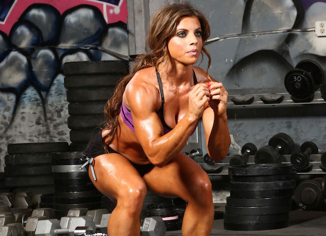 Jen Jewell doing squats.