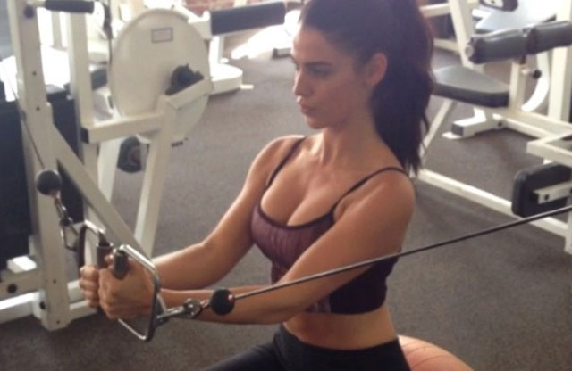 Jessica Lowndes at gym working out.