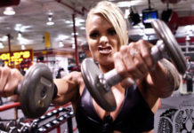 "Larissa Reis doing ""Front Raise"" exercise for shoulders."