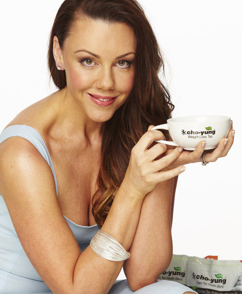 Michelle Heaton drinking Cho-Yung tea.