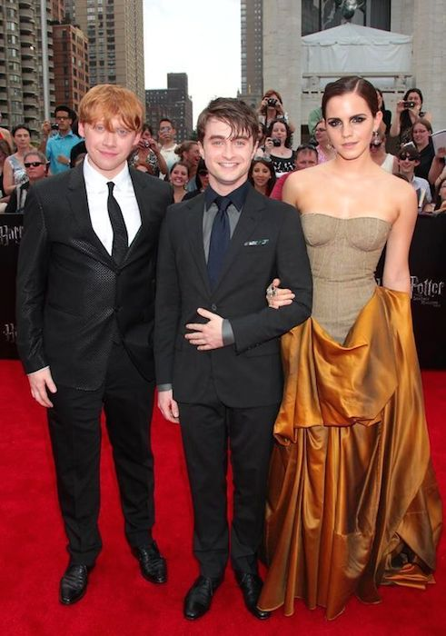 Rupert Grint (Left), Daniel Radcliffe (Center), and Emma Watson (Right).