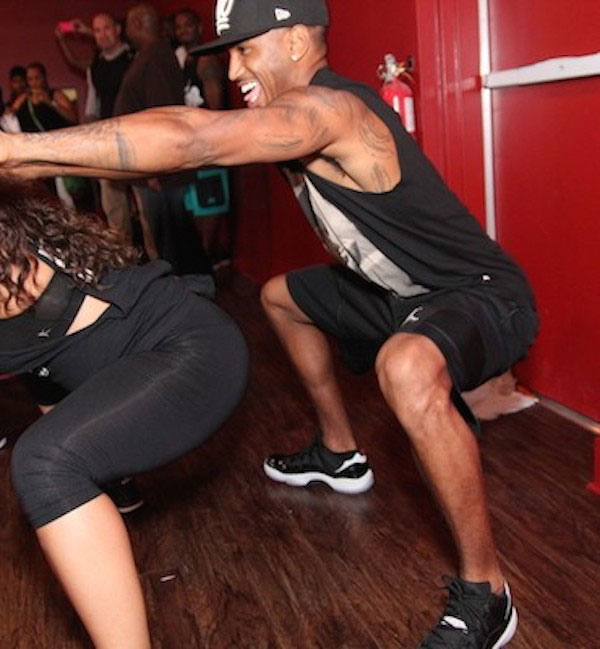 Trey Songz working out before performance