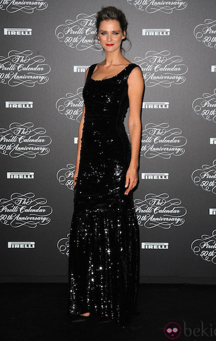 Carmen Kass attends the Pirelli Calendar 50th Anniversary event on November 21, 2013 in Milan.