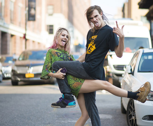 Charlotte Free and Gryphon O'Shea after Jeremy Scott New York Fashion Week 2014 at Spring / Summer NYFW.