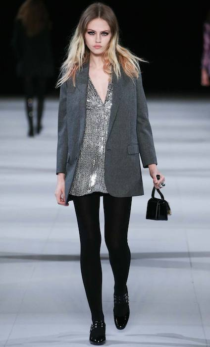 Charlotte Free showing Saint Laurent 2014 Fall / Winter Collection.