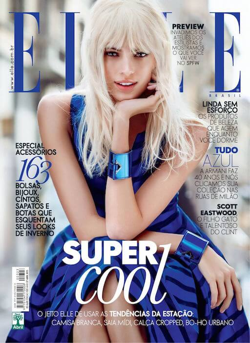 Devon Windsor on the cover of Elle Brazil's April 2015 issue, photographed by Nicole Heinig