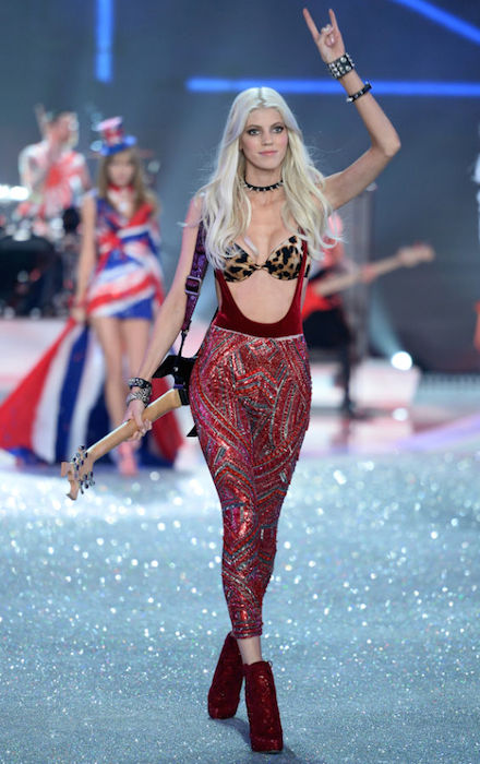 Devon Windsor during Victoria's Secret Fashion Show 2013.