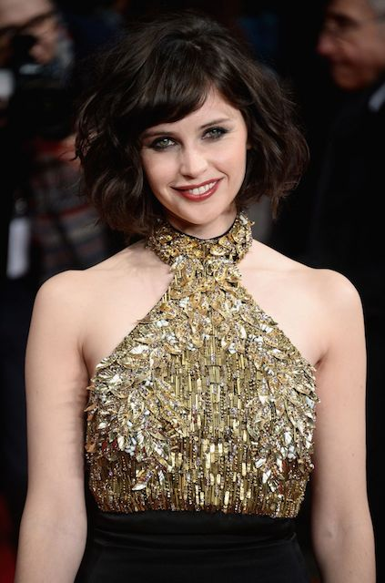 Felicity Jones during The Invisible Woman Premiere in London in January 2014.