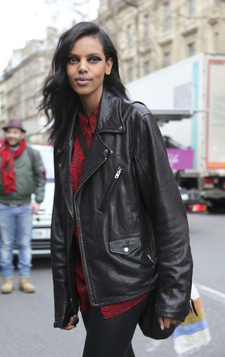 Grace Mahary street style after Dries Van Noten Show in Paris Fashion Week.