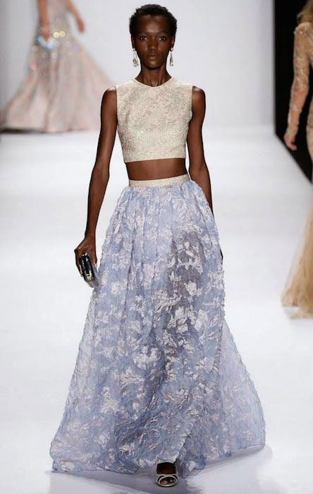 Herieth Paul walks Badgley Mischka Spring / Summer 2015 at NYFW.