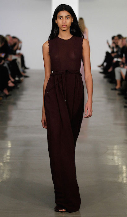 Imaan Hammam walking the Calvin Klein Pre Fall 2014 Show.