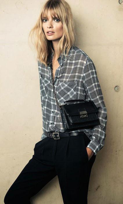 Julia Stegner for Mango's Winter Catalogue 2013 / 2014, wearing the menswear trend.
