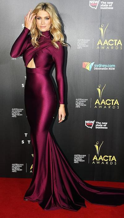 Delta Goodrem on the AACTA Awards 2014 red carpet.