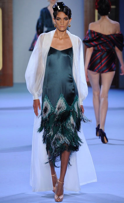Hadassa Lima during a ramp walk wearing Ulyana Sergeenko 2014 dress.