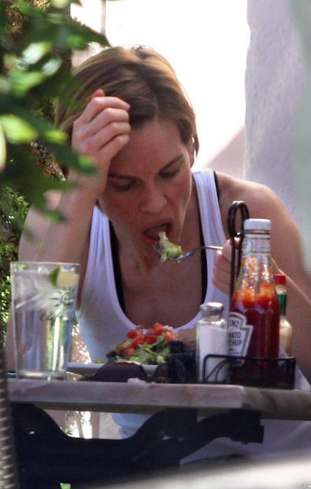 Hilary Swank eating her diet