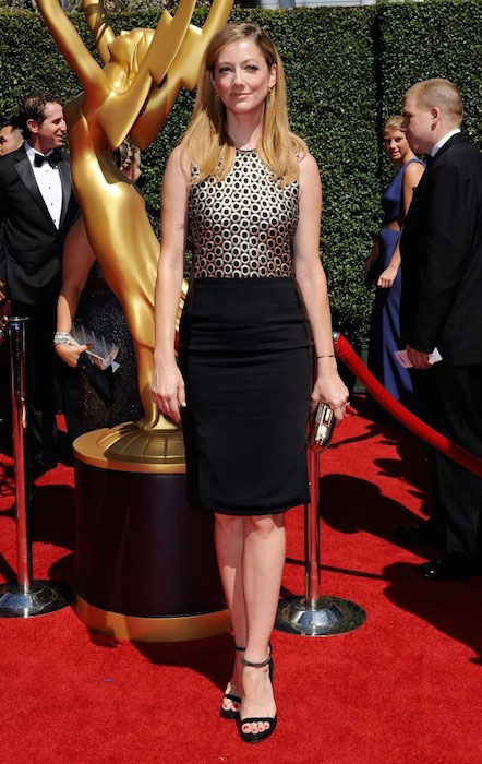 Judy Greer at the Primetime Creative Arts Emmy Awards 2014 at the Nokia Theatre in Los Angeles.