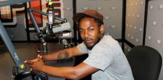 Kendrick Lamar in recording studio.