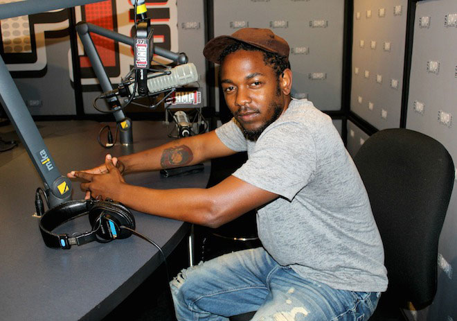 Kendrick Lamar in recording studio.