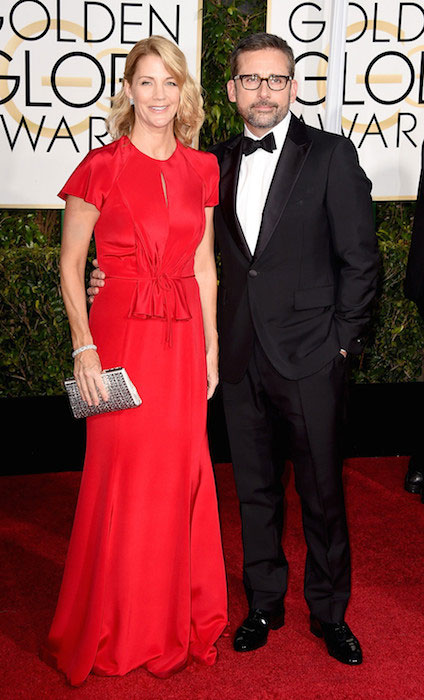 Nancy Carell and Steve Carell at Golden Globe Awards 2015.
