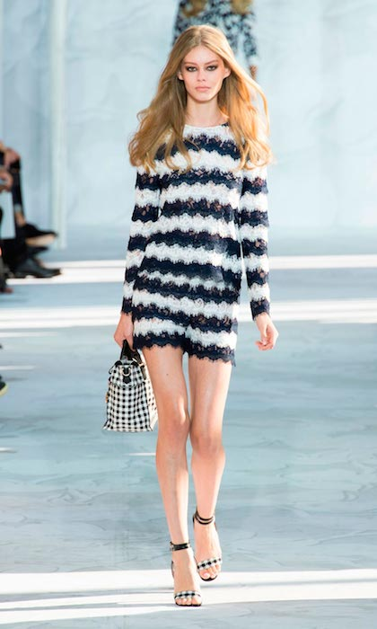 Ondria Hardin walking for Diane Von Furstenberg at Spring Summer 2015.