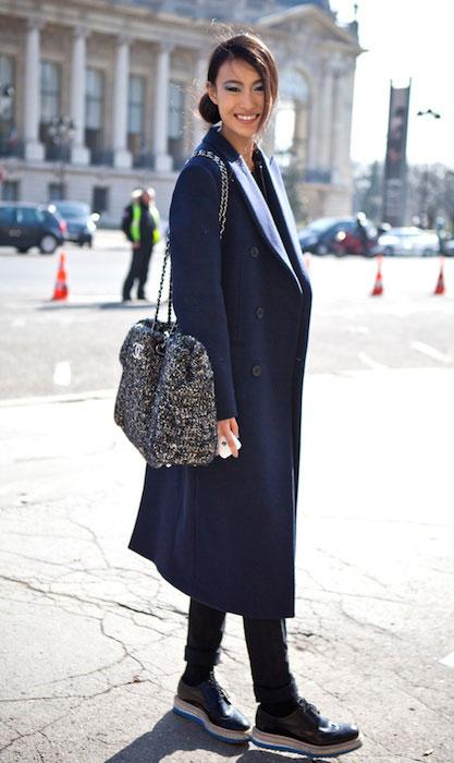 Shu Pei Qin wearing Chanel bag and Prada shoes during Paris Fashion Week.