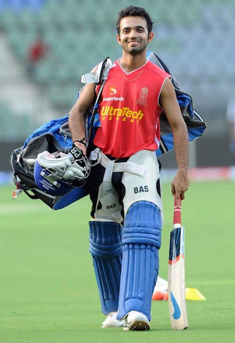 Ajinkya Rahane after practice session.